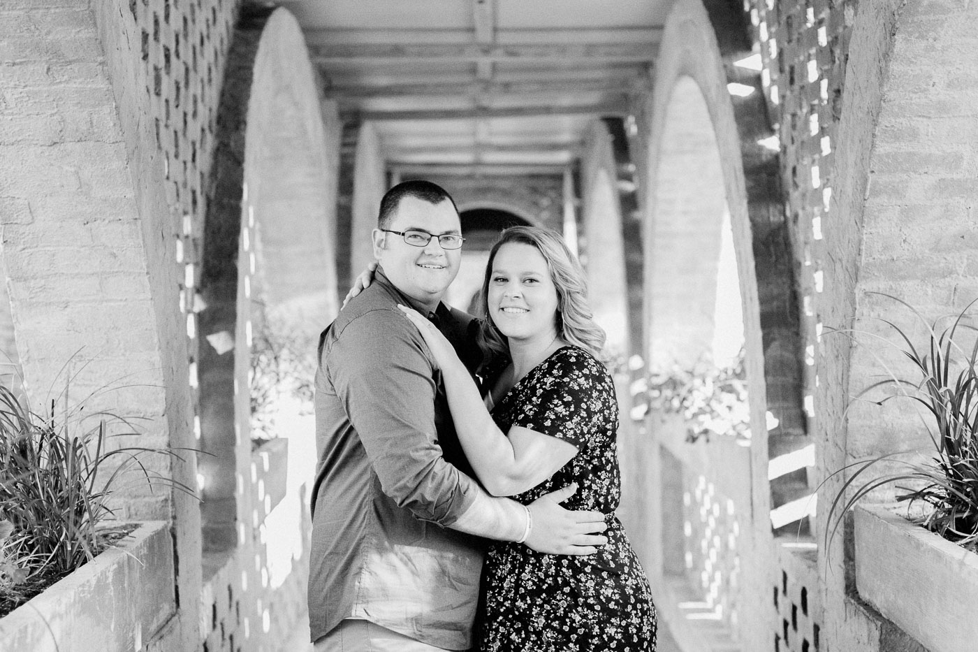 Black and white photograph for a couple during their Huntington beach state park engagement session