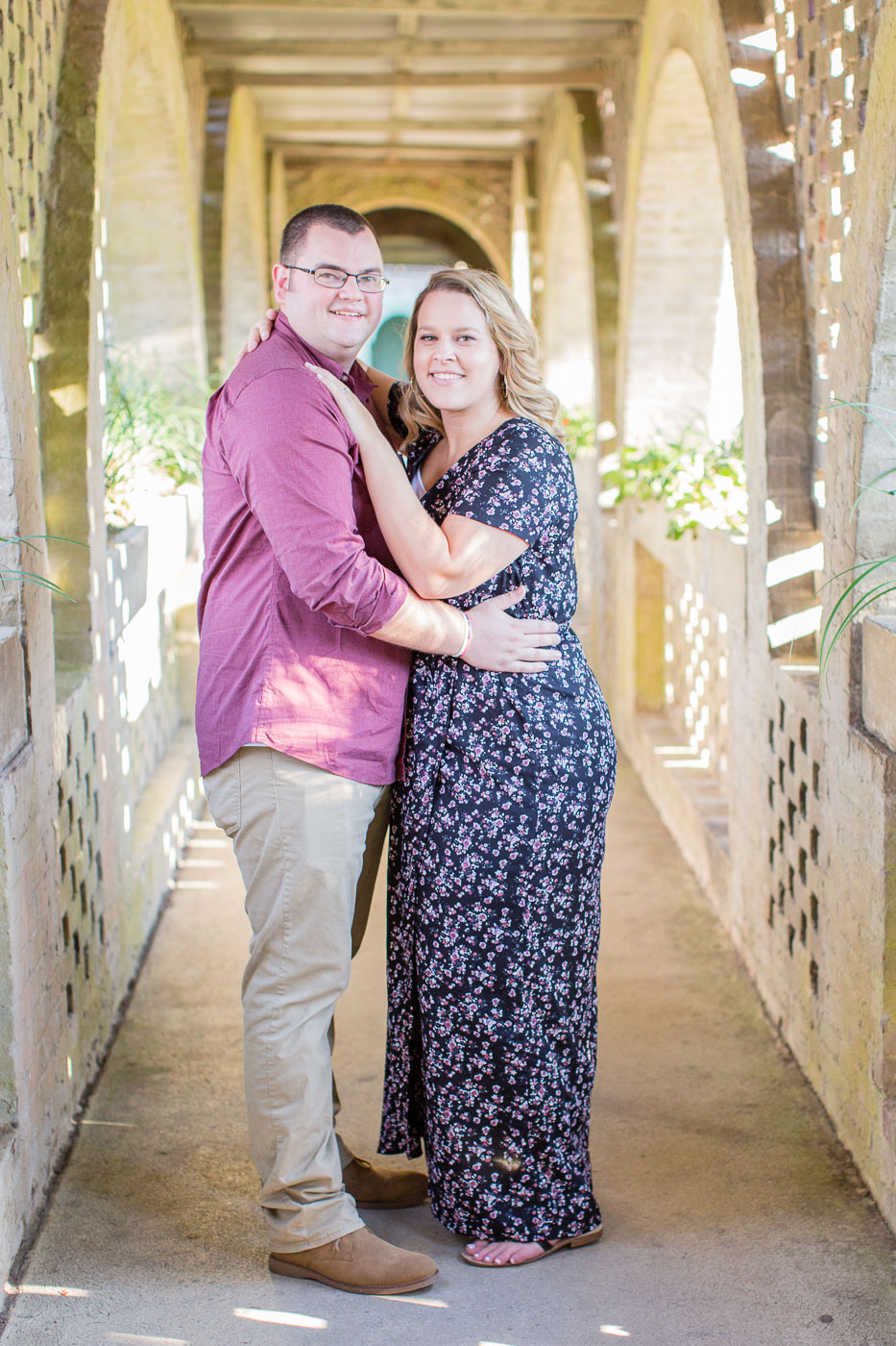Engagement photo at Atalaya castle during Huntington beach state park engagement session