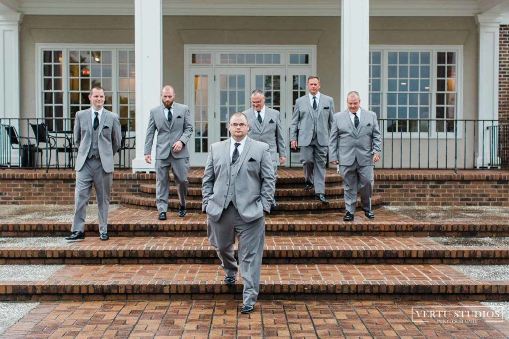 groomsmen at the porch of Pawleys Plantation