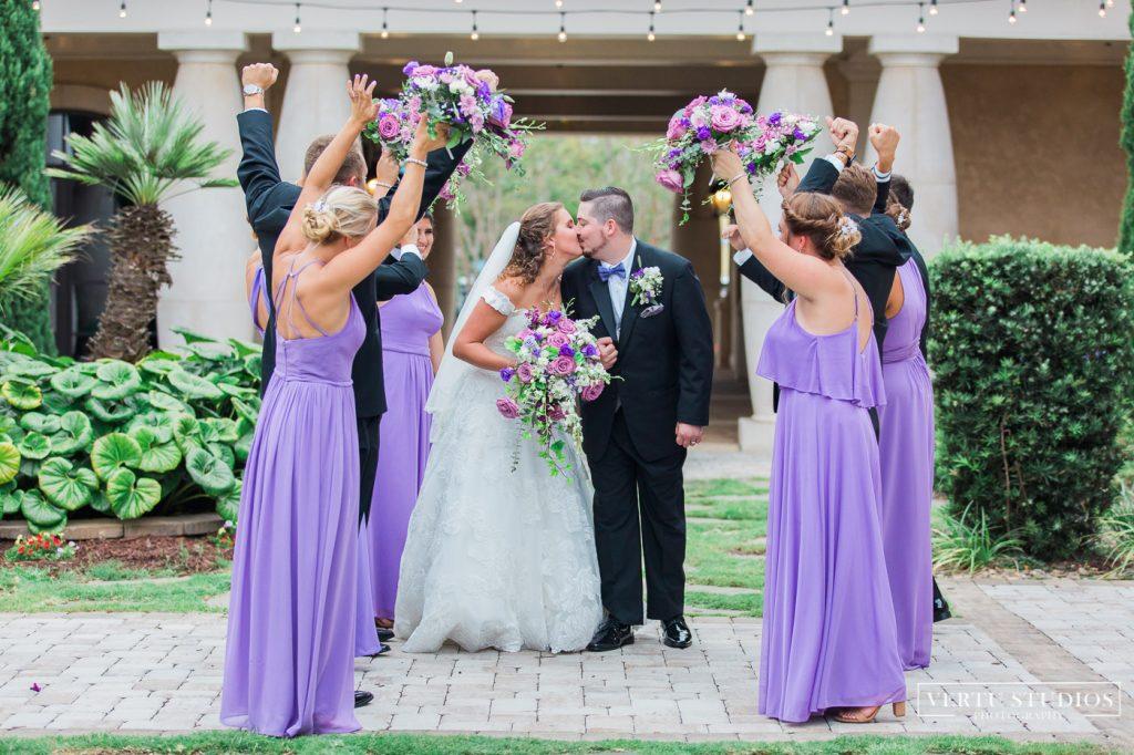 bride ang groom kissing