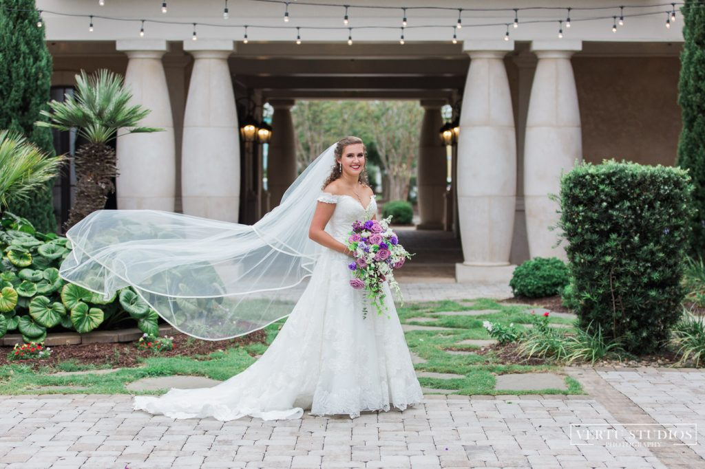 bride with bouquet at 21 Main Events at North Beach