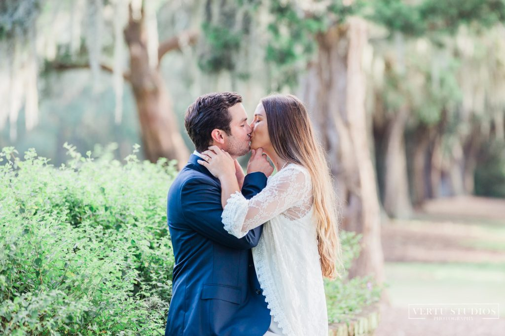 A couple kissing during their engagement session